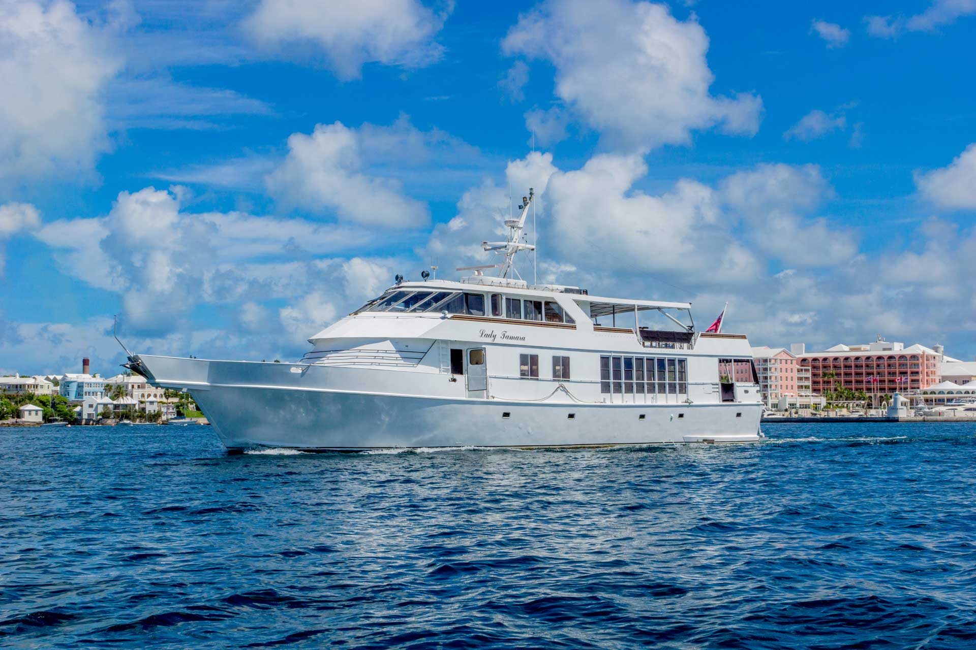 Lady Tamara cruising in Hamilton Harbour, Bermuda